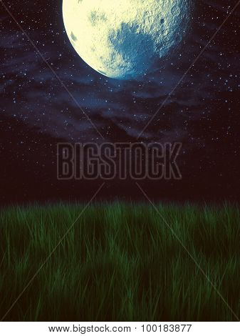 Moon Over Grass Field