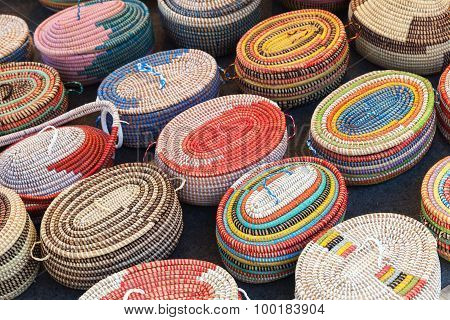 Colorful African Wicker Baskets In A Row
