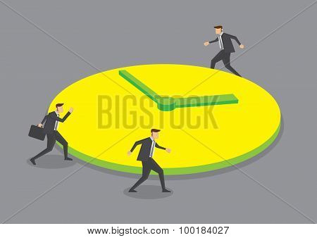 Businessmen Running Round The Clock Conceptual Vector Illustration