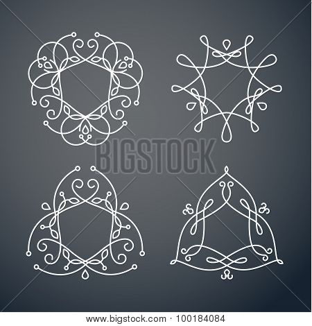 Set of outline monogram 04