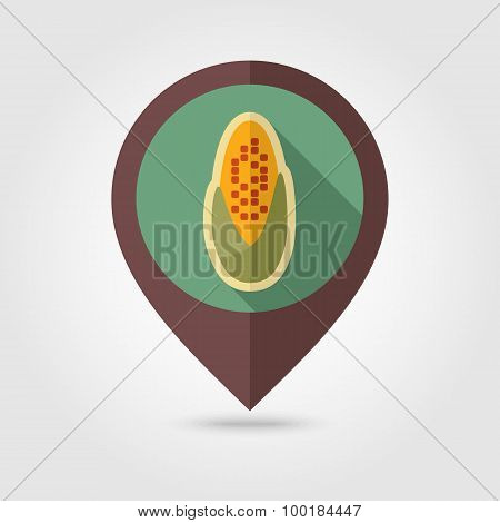 Corncob Flat Mapping Pin Icon With Long Shadow