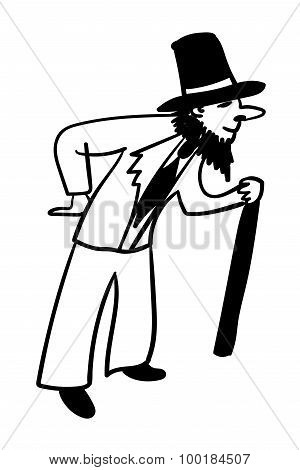 young male with a fake beard pretending old comic vector illustration