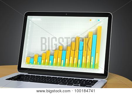 Laptop With Business Graph On A Wooden Table