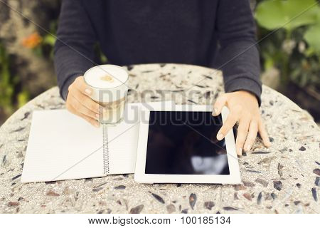 Digital Tablet, Blank Diary And Cup Of Coffee Outdoor