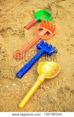Children's toys in the sand