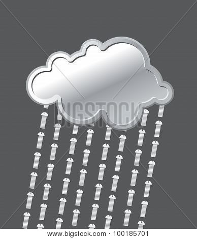 Rain Of Bolts. Metal, Iron Cloud. Precipitation Of  Screws. Vector Illustration.