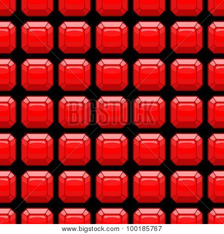 Ruby Seamless Pattern. Precious Stones. Vector Red Background.
