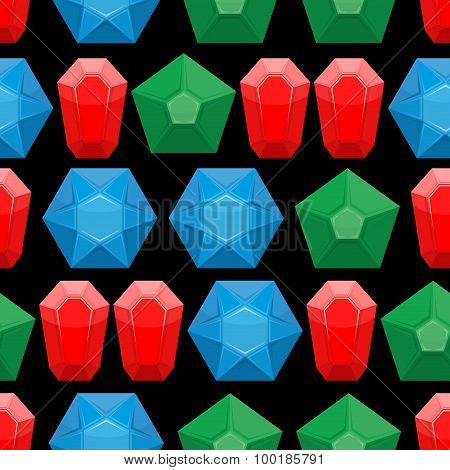 Gems Seamless Pattern. Vector Background Of Gemstone Jewelry