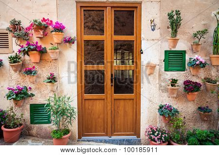 Typical Entrance With Flowers In Valldemossa