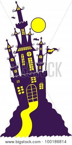 Gothic Halloween castle on the top of a hill