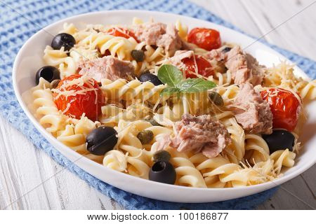 Fusilli Pasta With Tuna, Parmesan And Tomatoes In A Bowl. Horizontal