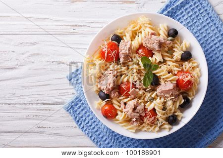 Fusilli Pasta With Tuna, Tomatoes And Parmesan. Horizontal Top View