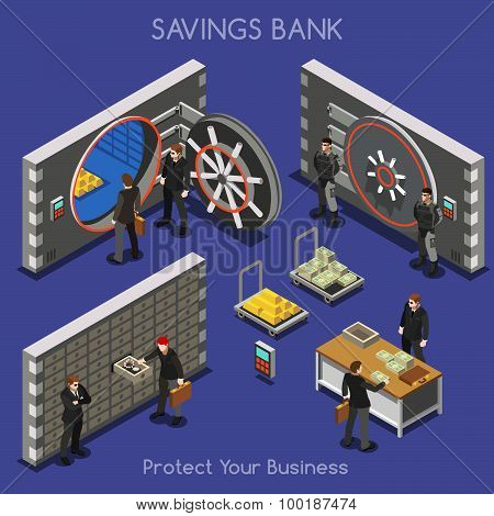 Bank Office 01 People Isometric