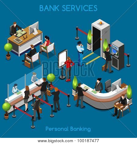 Bank Office 02 People Isometric