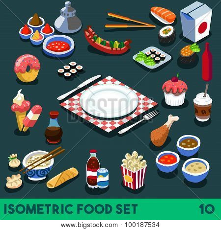 Diet Set 10 Food Isometric