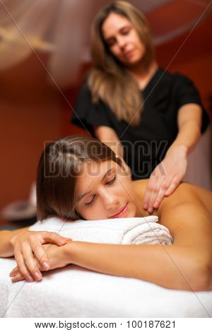 Beautiful woman having an massage