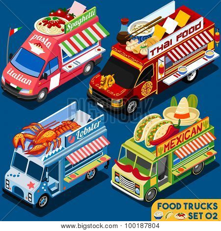 Food Truck Set02 Vehicle Isometric
