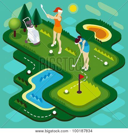 Golf Match People Isometric