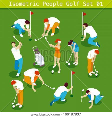 Golf Set 01 People Isometric