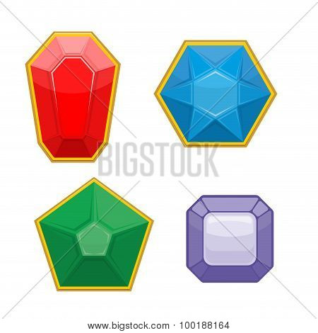 Set Of Precious Stones. Emerald And Ruby. Sapphire And Amethyst. Stones For Jewelry. Vector Illustra