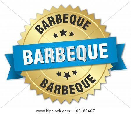 Barbeque 3D Gold Badge With Blue Ribbon