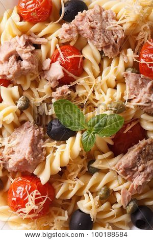 Fusilli Pasta With Tuna And Tomatoes Macro. Background Vertical Top View