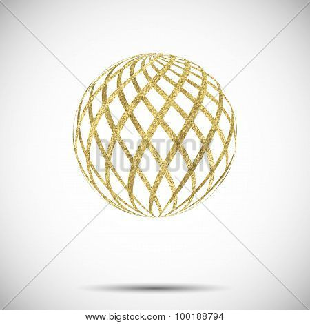 vector golden textured sphere ball with ornament and stripes