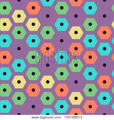 vector color seamles hexagonal pattern violet, green, yellow, red and cyan colors