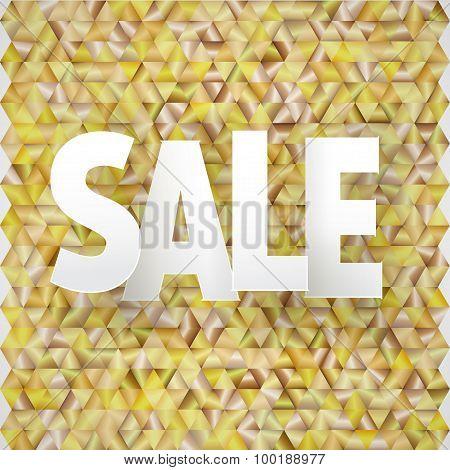 vector sale caption on golden triangular background