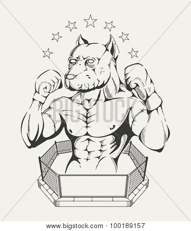 Illustration of  fighter's body with pit bull's head in the ring.