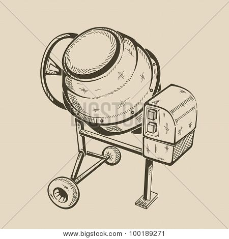 illustration of concrete mixer.