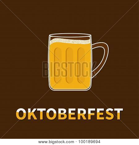 Oktoberfest Big Beer Glass Mug With Foam Cap Froth Bubble. Flat Design
