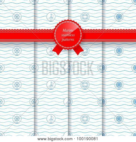Marine Set Of Seamless Patterns