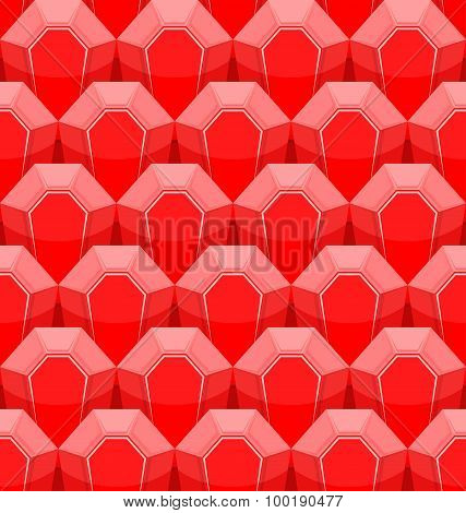 Ruby Seamless Pattern. Vector Background Of Red Gems.