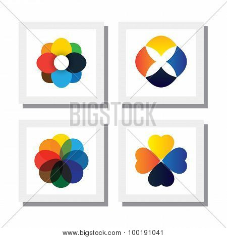 Set Of Flowers In Various Bright Colors - Vector Icons
