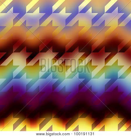 Houndstooths pattern on chevron blurred background.