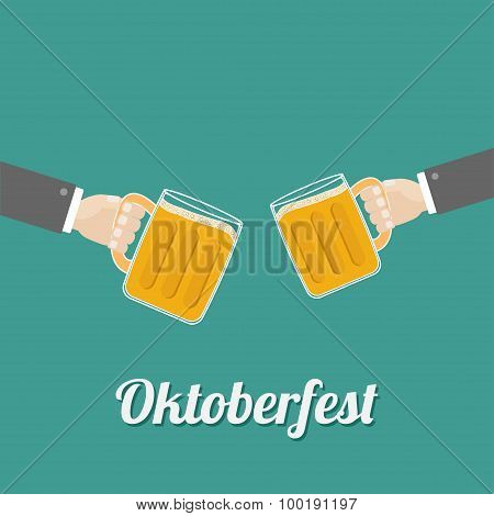 Oktoberfest Two Hands And Clink Beer Glasses Mug With Foam Cap Froth Bubble. Flat Design