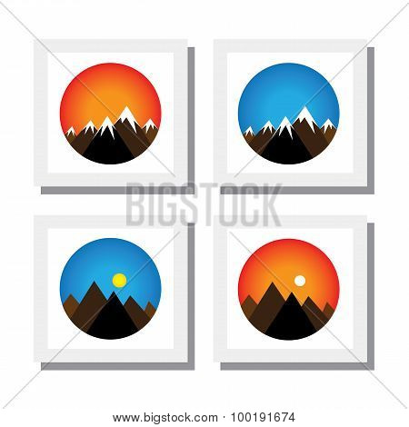 Set Of Sunset, Sunrise On Mountain Peaks -  Vector Icons