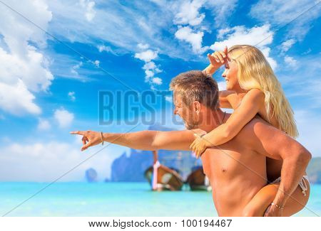 Young scandinavian couple on the beach of Koh Phi Phi island in Thailand