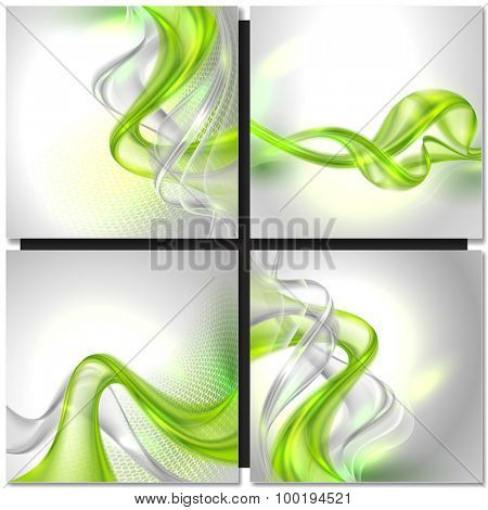 Abstract gray wave background with green elements