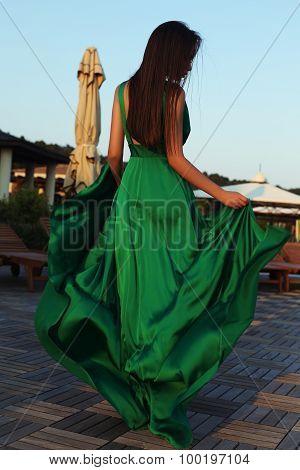Sensual Woman With Dark Hair In Elegant Silk Dress