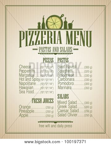 Pizzeria menu list, vintage style.