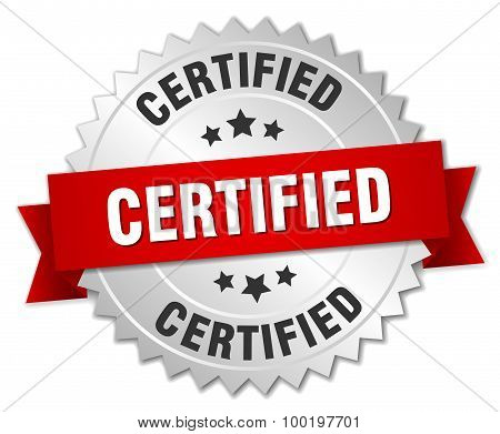 Certified 3D Silver Badge With Red Ribbon