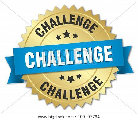 Challenge 3D Gold Badge With Blue Ribbon