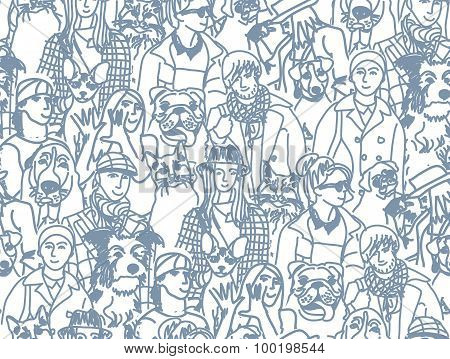 Big group people and pets gray seamless pattern