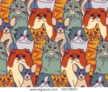 Cats pets animal group color seamless pattern