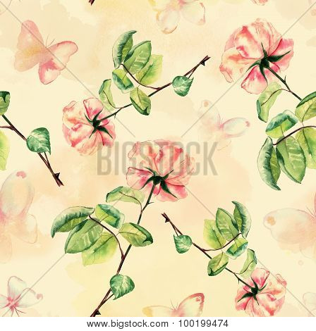 Seamless watercolour roses and butterflies background pattern, toned