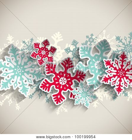 Abstract snowflakes, winter concept, illustration
