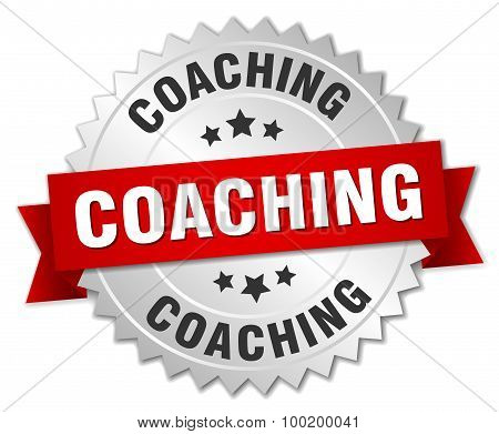 Coaching 3D Silver Badge With Red Ribbon