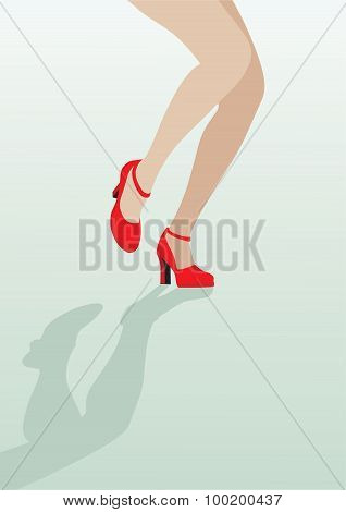 Female Legs In Sexy Red Shoes Dancing On The Green Background; Vector